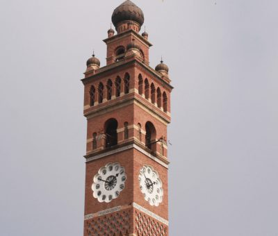 A close-up picture of Hussainabad clock tower