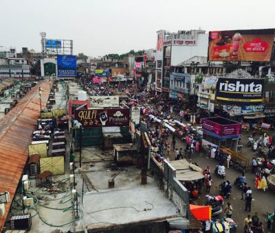 An aerial view picture of Aminabad market in Lucknow India