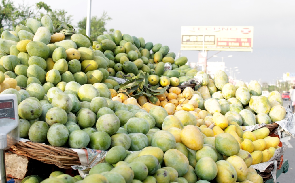 A mango street vendor's stall in Lucknow during the mango seson.