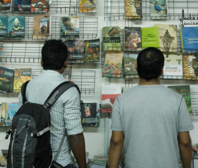 Visitors taking a look at the books on display at the National Book Fair Lucknow 2015.