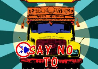 Pic of Truck with caption: Say No to Honking and Horn Not OK please. This is based on India contect where most trucks have bumper stickers saying - Horn please