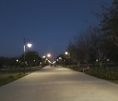 Pic of Janeshwar Mishra park lucknow. Shot in the Evening. Shows well lit tracks.