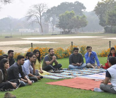 A poetry session in progress at La Martiniere Campus