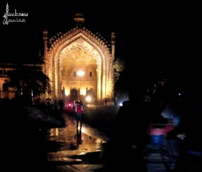 Picture of Rumi Darwaza in Lucknow by the night