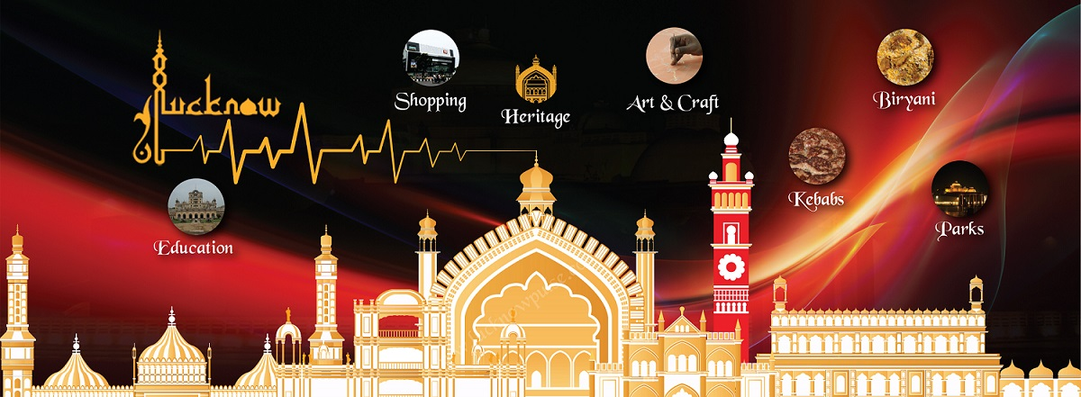 A collage of vectors of Lucknow historical buildings