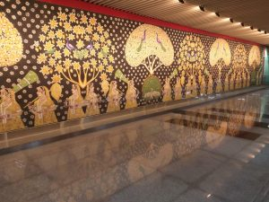 Pic of a Mural at an underground Metro Station in Lucknow