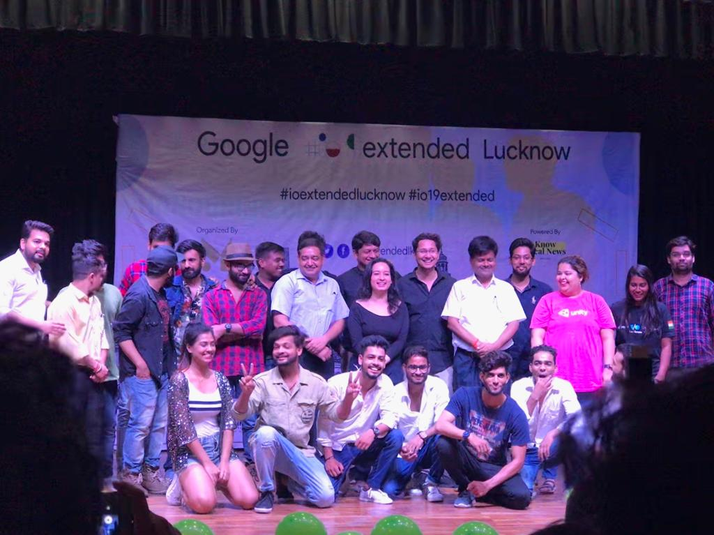 Organizing team group picture at event titled - Google io extended Lucknow-2019