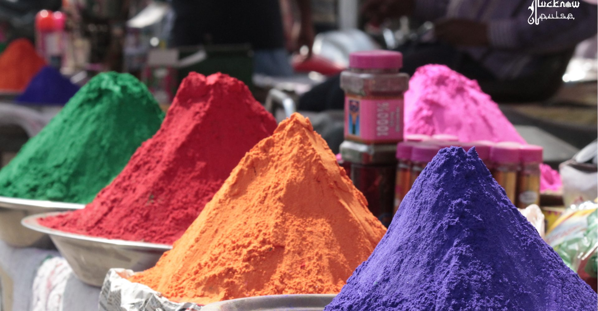 colorus sold at a roadside stall in Lucknow for the festival of colors - Holi